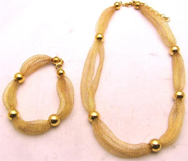 Gold Plated 925 Sterling Silver Silk Necklace and Bracelet Set - Vintage / Estate Collection - SOLD