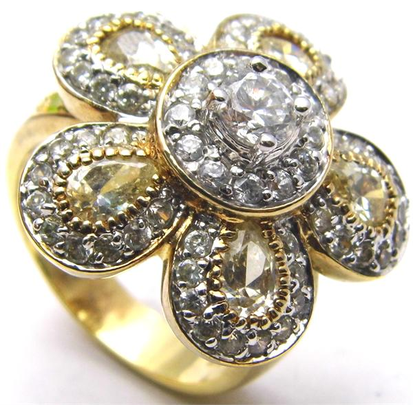 Size 9 Charles Winston CWE Gold Plated Sterling Silver Flower CZ Ring - Vintage / Estate Collection - SOLD