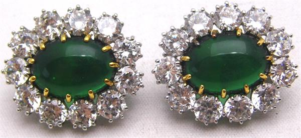 Oval Green Stone and Clear CZ Clip On Earrings - Vintage / Estate Collection - SOLD