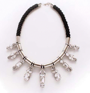 nOir Jewelry - Chudasama -Thick Cord & CZ Necklace - Black with Rhodium Plated Brass - DISCONTINUED