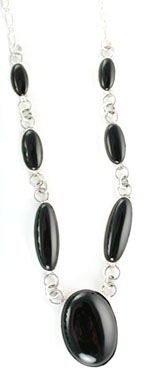 Seven Oval Black Onyx Necklace - Navajo Native American Handcrafted - DISCONTINUED