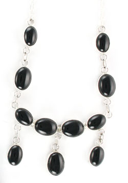Three Dangle Black Onyx Necklace - Navajo Native American Handcrafted - DISCONTINUED