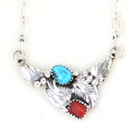 Turquoise, Coral & Leaf Sterling Silver Necklace - Navajo Native American Handcrafted - DISCONTINUED