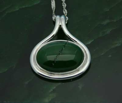 Polar Jade Teardrop & Oval Pendant (P0002) - DISCONTINUED
