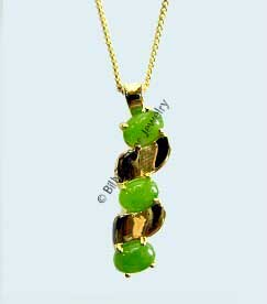 Jade Bead and Silver (or Gold Plated) Pendant (P0235) - DISCONTINUED