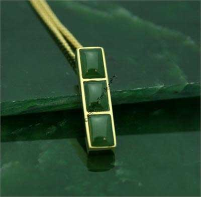 Jade Three Cabochons Pendant (P0637) - DISCONTINUED
