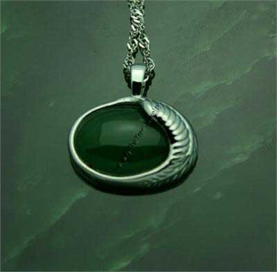 Jade Oval Pendant with Sterling Silver Leaf (P0819)