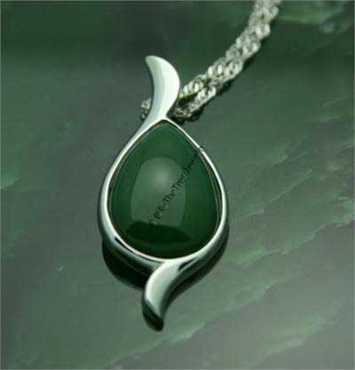Polar Jade Pear Pendant (Sterling Silver or Vermeil) (P0820)