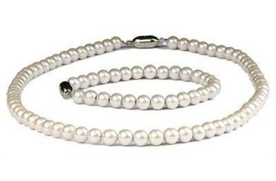 Nobility Pearls - Pearl Coated Hematite Magnetic Therapy Bracelet and Necklace Set (201CW)