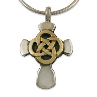 "14K Gold & Sterling Silver Sita Knot Cross Pendant w/ 18"" Snake Chain - DISCONTINUED"