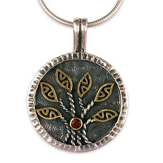 "14K Gold, Sterling Silver & Garnet Tree of Life Pendant w/ 18"" Snake Chain - DISCONTINUED"