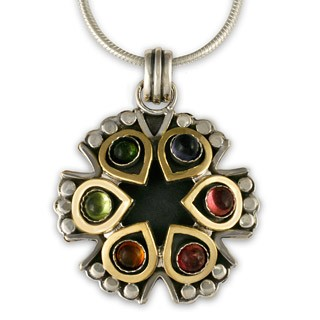"14K Gold, Sterling Silver & Multistone Lotus Pendant w/ 18"" Snake Chain - DISCONTINUED"