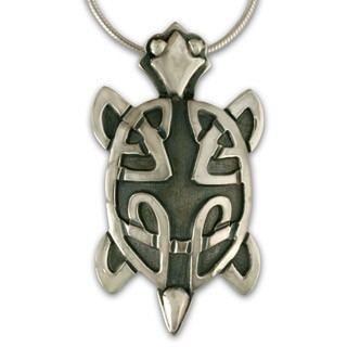 "Celtic Turtle Pendant with 18"" Box Chain - DISCONTINUED"