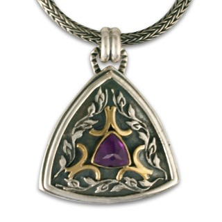 "18K Gold, Sterling Silver & Amethyst Pendant w/ 18"" Thick Snake Chain - DISCONTINUED"