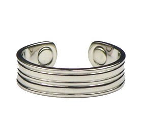 Silver Grooves - Silver Plated Magnetic Therapy Ring (R18)