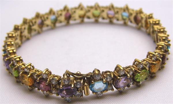 Vermeil Multicolored CZ Stone Bracelet - Vintage / Estate Collection - SOLD