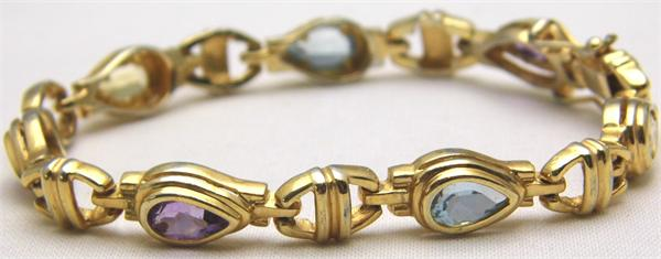 Vermeil with Multicolored Stones Link Bracelet - Vintage / Estate Collection - SOLD