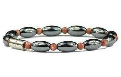 Hematite and Simulated Sandstone w- Clasp - Hematite Magnetic Therapy Bracelet (501GSBR)