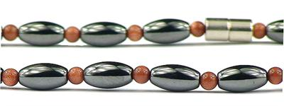 Hematite and Simulated  Sandstone - Magnetic Therapy Necklace (501GSNL)