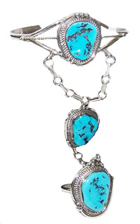 Three Turquoise Slave Bracelet - Navajo Native American Handcrafted - DISCONTINUED