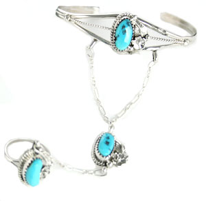 Three Turquoise Flower/Leaf Slave Bracelet - Navajo Native American Handcrafted - DISCONTINUED