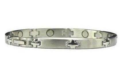 Silver Plus - Silver Plated Stainless Steel Magnetic Therapy Bracelet (SS-17)