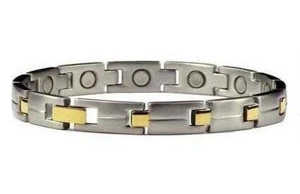 Golden Edge - Gold Plated Stainless Steel Magnetic Therapy Bracelet (SS-45)