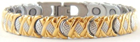 Golden Criss-Cross  - Stainless Steel Magnetic Therapy Bracelet