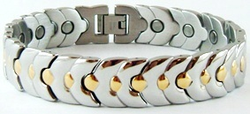 Golden Circles - Stainless Steel Magnetic Therapy Bracelet