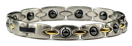 Hematite Rectangles - Stainless Steel Magnetic Therapy Bracelet (SS-MRB3)