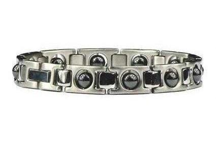 Hematite Silver  Plated Classic - Stainless Steel Magnetic Therapy Bracelet (SS-MRB4S)