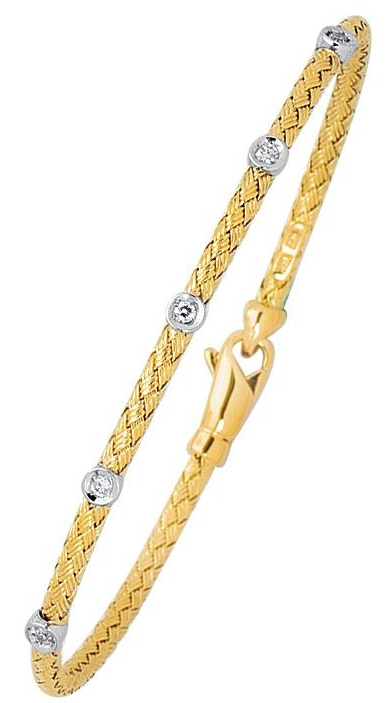 "8"" 14K Yellow & White Gold 3.0mm (1/8"") Round Tube Basket Weaved Diamond Accent w/ 0.14ct Diamond Fancy Bangle Bracelet w/ Fancy Lobster Clasp"