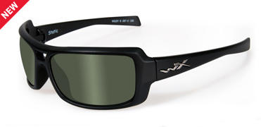 Wiley X Sunglasses - Static Black Ops/Matte Black with Polarized Smoke Green Lens - Street Series