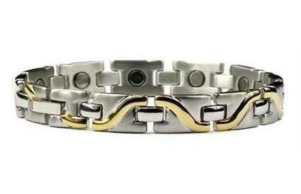 Golden Surf - Gold Plated Pure Titanium Magnetic Therapy Bracelet (TT-33)