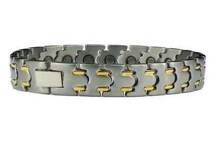 Gilded Streaks - Pure Titanium Magnetic Therapy Bracelet (TT-50)