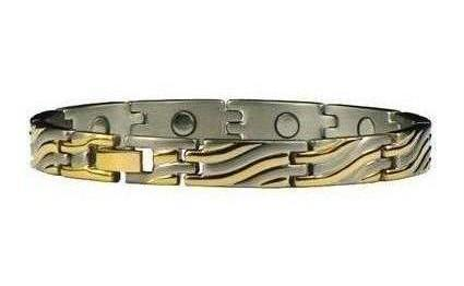 Golden Wave - Gold Plated Pure Titanium Magnetic Therapy Bracelet  (TT-83)