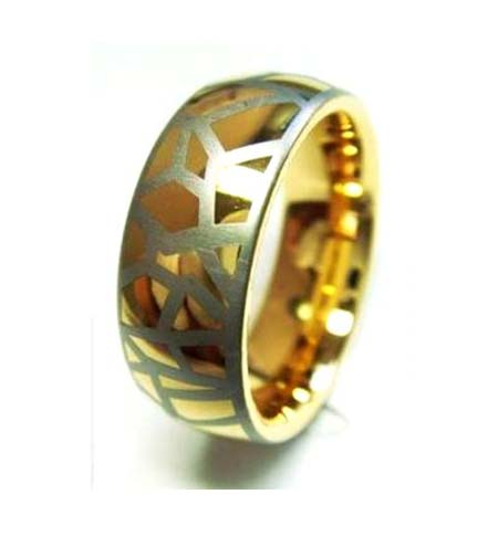 Gold Plated Tungsten Ring with Laser Engraving (TUR-157GP)