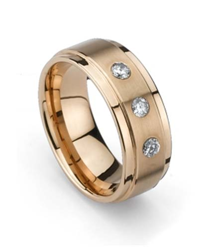 Beveled Edge Rose Gold Plated CZ Tungsten Ring (TUR-256RGP)