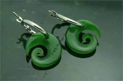 Polar Jade Koru (Spiral) Earrings (HNW-1782)