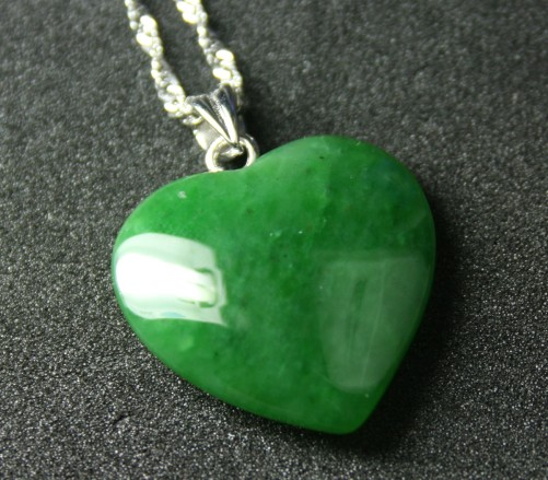 Jade Heart Pendant w/Bail No Chain (Multiple Sizes Available) (UJKK-0576-10)