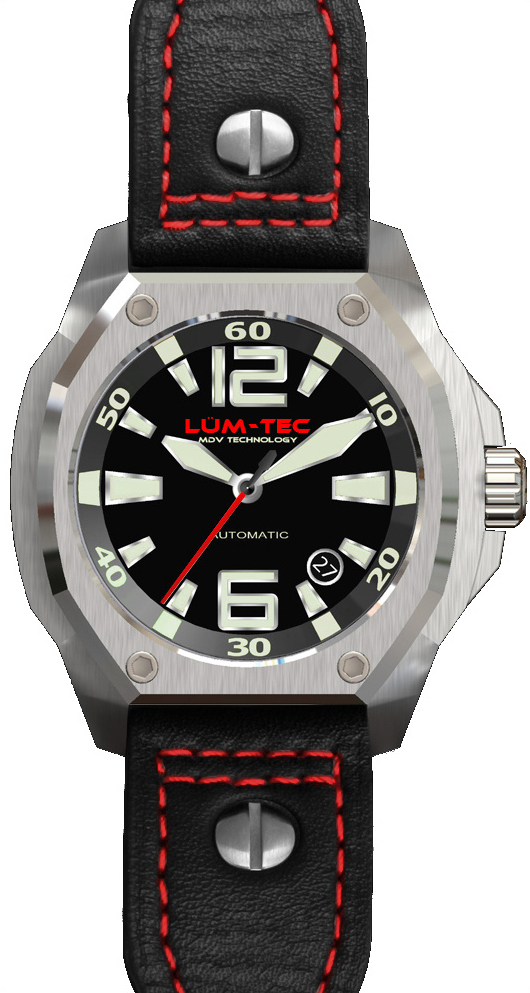 Lum-Tec Watch - V Series - V1 RED Limited Edition Automatic Mens w/ Black Leather - DISCONTINUED