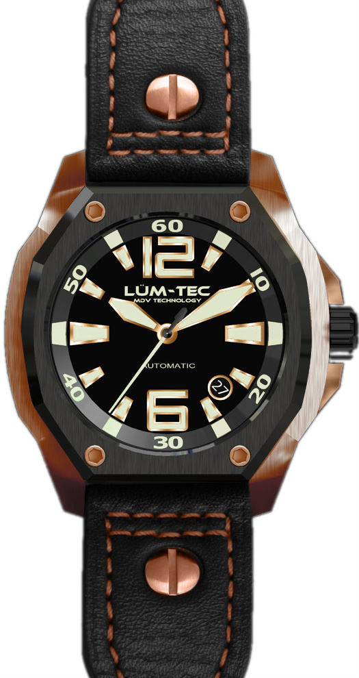 Lum-Tec Watch - V Series - V6 Automatic Mens w/ Black Leather