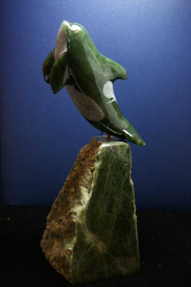 Jade Orca Whale On Base Figurine (011-500)
