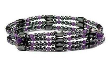 Simulated Amethyst Wrap Around Hematite - Magnetic Therapy Bracelet-Anklet (WA-A1)