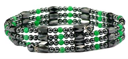 (Simulated) Emerald Green Wrap Around Hematite - Magnetic Therapy Bracelet-Anklet (WA-EG1) - DISCONTINUED