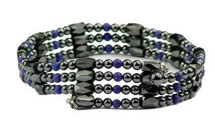 Simulated Lapis Wrap Around Hematite - Magnetic Therapy Bracelet/Anklet (WA-L1)