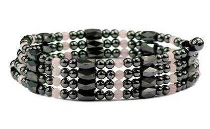 Simulated Rose Quartz Wrap Around Hematite - Magnetic Therapy Bracelet-Anklet (WA-RQ1)