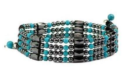 Simulated Turquoise Wrap Around Hematite - Magnetic Therapy Bracelet-Anklet (WA-T1)