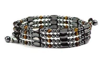 Simulated Tiger Eye Wrap Around Hematite - Magnetic Therapy Bracelet-Anklet (WA-TE1)