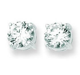 "14K White Gold Shiny 8.0mm (1/3"") Round Faceted White Cubic Zirconia (CZ) Stud Earrings"